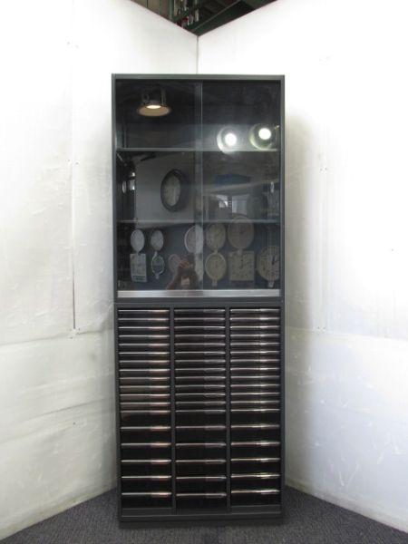 プラス LX-5シリーズ クリアケース・ガラス引違い上下書庫 L5E105G/L5E105KA-CT W800xD450xH2150mm 中古品
